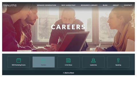 Screenshot of Jobs Page annuitas.com - Demand Generation Careers - ANNUITAS - captured April 26, 2018