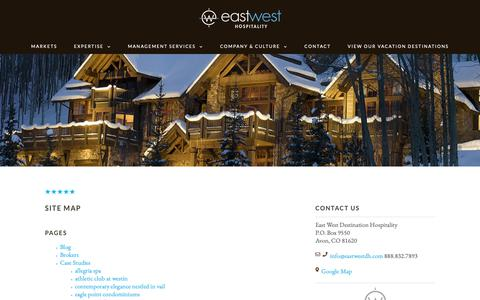 Screenshot of Site Map Page eastwest.com - Site Map - East West - captured Sept. 26, 2018