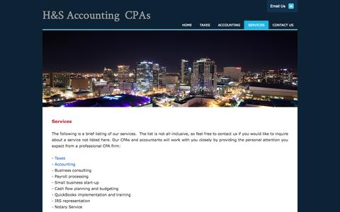 Screenshot of Services Page hsaccounting.com - SERVICES - H&S Accounting CPAs - captured Oct. 1, 2014