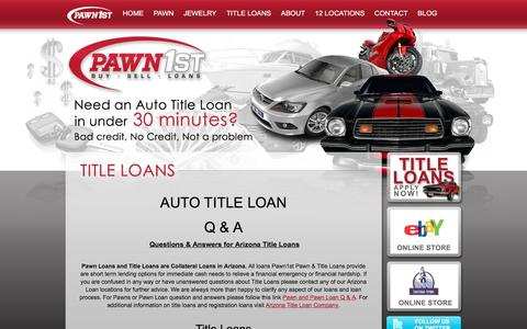 Screenshot of FAQ Page pawn1st.net - Questions and Answers for Title Loans, Registration Loans, Personal Loans | Pawn 1st - captured Jan. 26, 2016