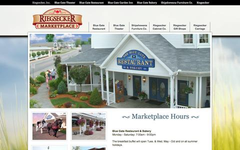 Screenshot of Hours Page riegsecker.com - Shipshewana's Home of the Blue Gate Restaurant and Theater - captured Oct. 26, 2014