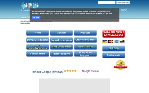 Screenshot of Testimonials Page innovaglobal.com - Testimonials - Network Cabling, Structured Cabling, phone system, Wireless / Wi-Fi National Rollout Contractor - captured Oct. 27, 2014