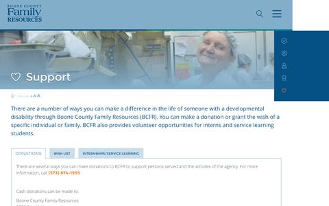 Screenshot of Support Page bcfr.org - Support   Boone County Family ResourcesBoone County Family Resources   We help people with developmental disabilities thrive, connect, and achive - captured Nov. 23, 2016