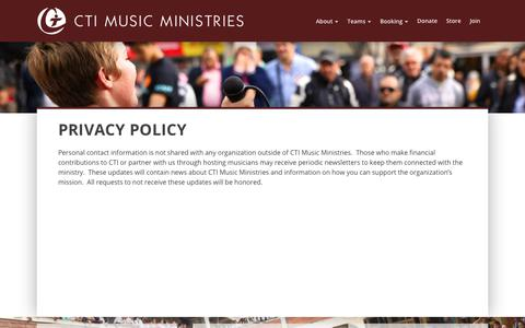 Screenshot of Privacy Page ctimusic.org - Privacy Policy | CTI Music Ministries - captured July 10, 2017