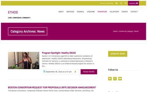 Screenshot of Press Page ethocare.org - News  ETHOS - captured Nov. 10, 2016