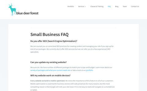 Screenshot of FAQ Page bluedeerforest.com - Small Business FAQ - Blue Deer Forest - captured July 6, 2018