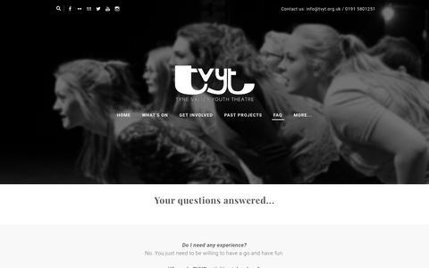 Screenshot of FAQ Page tvyt.org.uk - FAQ - Tyne Valley Youth Theatre - captured Oct. 20, 2018