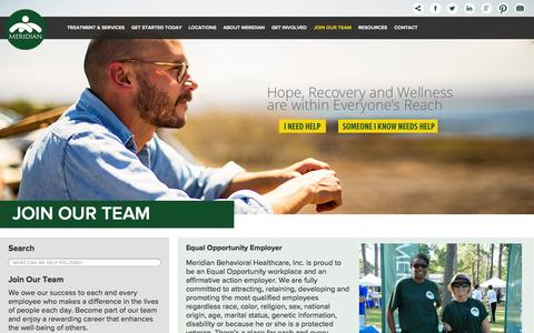 Screenshot of Signup Page mbhci.org - Join Our Team - Meridian Behavioral Healthcare, Inc. - captured Oct. 27, 2014