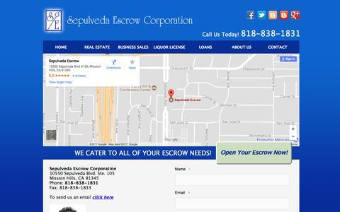 Screenshot of Contact Page sepulvedaescrow.net - Contact Sepulveda Escrow Corporation | 818-838-1831 - captured Oct. 19, 2017