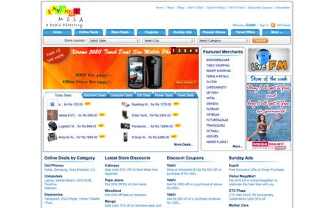 Screenshot of Home Page savingsmela.com - India Sale offer news | Online Shopping India, Deals, Discounts, Sales on Products - captured Oct. 3, 2014