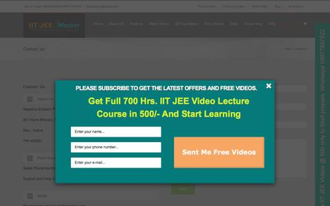 Screenshot of Contact Page iitjeemaster.com - Contact us | IIT JEE video lectures | JEE Physics Maths lectures - captured Nov. 28, 2016