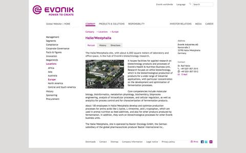 Portrait - Evonik Industries - Specialty Chemicals