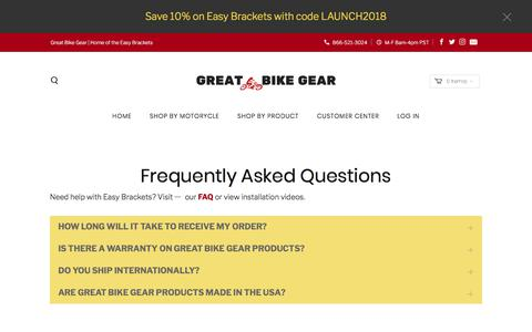 Screenshot of FAQ Page greatbikegear.com - Frequently Asked Questions - Great Bike Gear - captured July 24, 2018