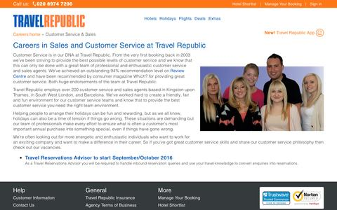 Screenshot of Jobs Page travelrepublic.co.uk - Sales and Customer Service careers at Travel Republic - captured Feb. 28, 2017