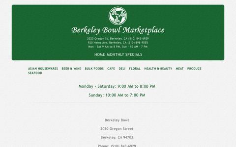 Screenshot of Locations Page berkeleybowl.com - LOCATIONS | berkeleybowl.com - captured Feb. 7, 2016