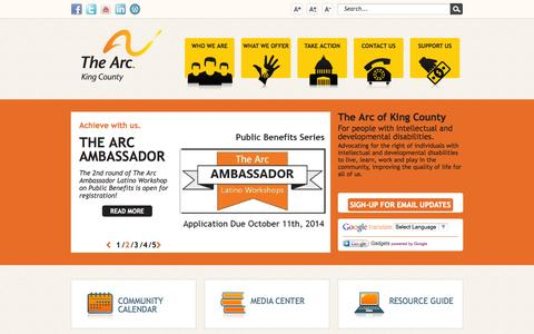 Screenshot of Home Page arcofkingcounty.org - Home - captured Oct. 1, 2014