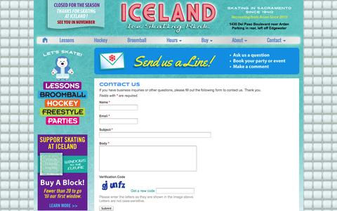 Screenshot of Contact Page skatesacramento.com - Contacting Iceland Ice Skating Rink, Sacramento - captured Oct. 3, 2014