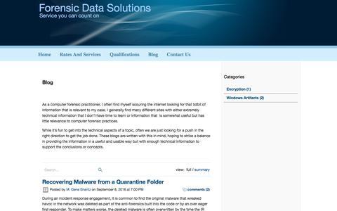 Screenshot of Blog forensicdatasolutions.com - Forensic Data Solutions - captured Aug. 19, 2018