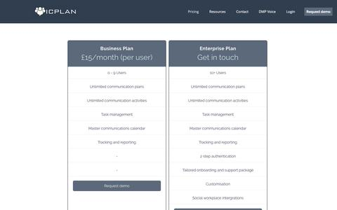 Screenshot of Pricing Page icplan.com - ICPlan | Pricing - captured July 25, 2018