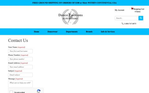 Screenshot of Contact Page dancefashions.com - Dance Fashions Superstore - Contact Us - captured Dec. 19, 2018