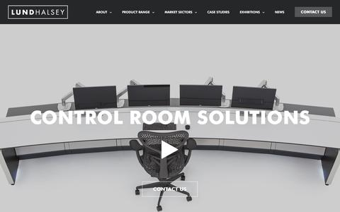 Screenshot of Home Page lundhalsey.com - Lund Halsey | Control Room Consoles - captured May 24, 2017
