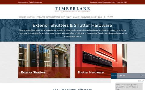 Screenshot of Products Page timberlane.com - Custom Exterior Shutters & Shutter Hardware | Timberlane - captured Oct. 30, 2018