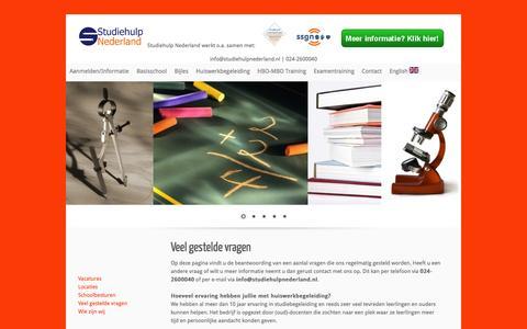 Screenshot of FAQ Page studiehulpnederland.nl - Studiehulp Nederland - Veel gestelde vragen! - captured Nov. 5, 2014