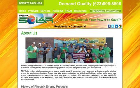 Screenshot of About Page pepsolar.com - PEP Solar: Phoenix Solar Panels - Renewable Energy AZ | About Us - captured Oct. 2, 2014