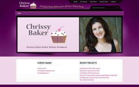Screenshot of Home Page chrissybaker.com - Chrissy Baker |Actress, Voice Artist, Writer, Producer - captured Oct. 3, 2014