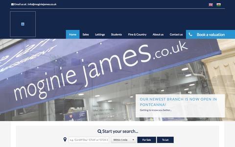 Screenshot of Home Page moginiejames.co.uk - Moginie James - Cardiff Estate Agent - captured Jan. 26, 2015