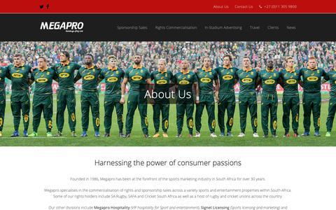 Screenshot of About Page megapro.co.za - About Us | Megapro Holdings - captured Nov. 15, 2018
