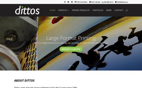 Screenshot of Home Page dittos.ca - dittos | Lake Country & Kelowna, British Columbia - captured Dec. 19, 2018