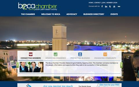 Screenshot of Home Page bocaratonchamber.com - Greater Boca Raton Chamber of Commerce   Boca Raton, FL, 33432 - captured Sept. 19, 2014