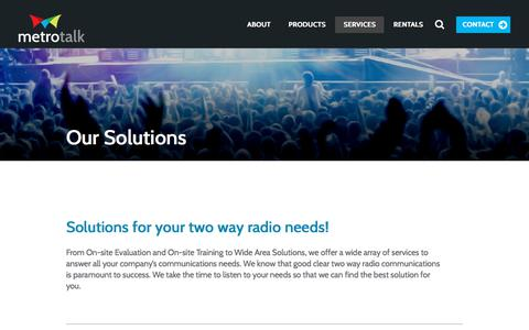 Screenshot of Services Page metrotalkinc.com - Two-way radio solutions | Virginia, Maryland and DC | Metrotalk Inc - captured Sept. 20, 2018