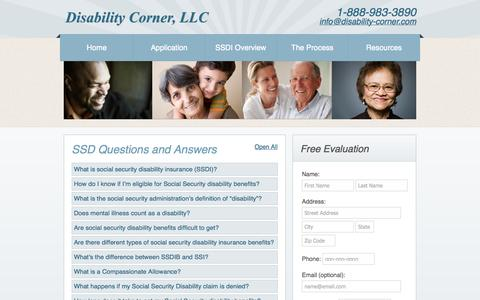 Screenshot of FAQ Page disability-corner.com - Social Security Disability Questions and Answers   Disability Claim Questions   Disability FAQs   Disability Corner - captured Oct. 5, 2014