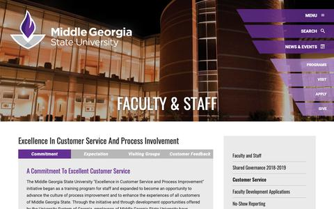 Screenshot of Support Page mga.edu - Customer Service: Middle Georgia State University - captured Oct. 1, 2018