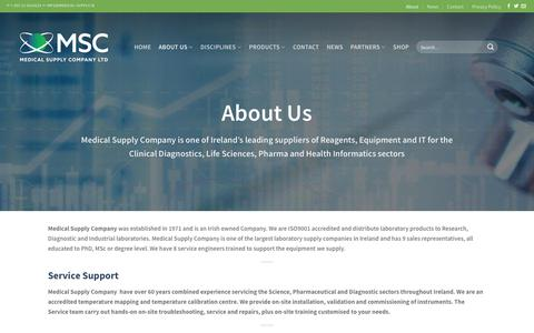 Screenshot of About Page medical-supply.ie - About | Medical Supply Company, Reagents, Equipment, IT solutions, Pharma, Clinical Diagnostics, Life Science, Lab Inventory Management System, Healthcare, MSC - captured Oct. 17, 2018