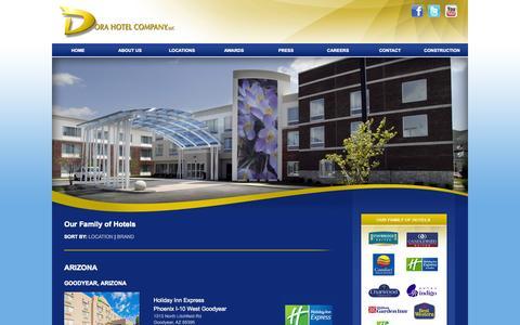 Screenshot of Locations Page dorahotelco.com - Dora Hotels Locations | Indiana Hotel Properties of Dora Hotel Company - captured Oct. 5, 2014