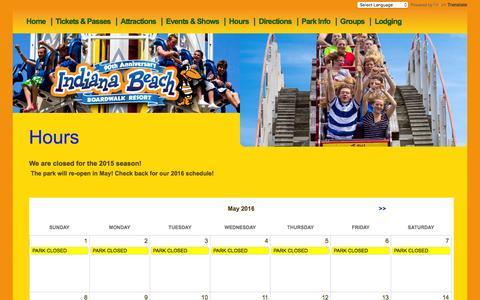 Screenshot of Hours Page indianabeach.com - 2016 - Hours | Indiana Beach - captured Feb. 20, 2016