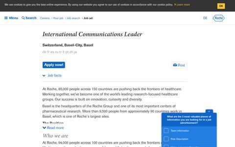 Screenshot of Jobs Page roche.com - Roche - International Communications Leader - captured July 16, 2019