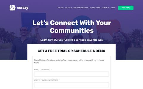 Screenshot of Trial Page oursay.org - Free Trial | OurSay - captured Nov. 17, 2018