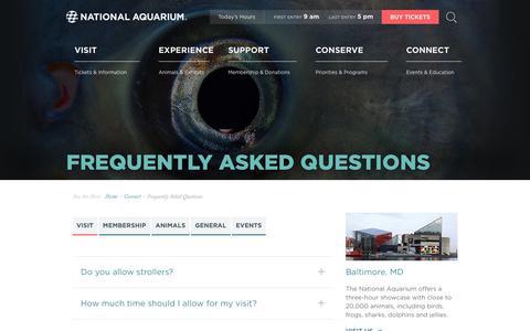 Screenshot of FAQ Page aqua.org - National Aquarium | FAQ - captured June 2, 2019