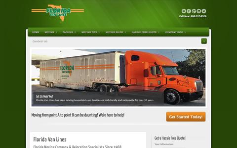 Screenshot of Home Page flvanlines.com - Florida Moving Company | Move To Florida - captured Oct. 8, 2014