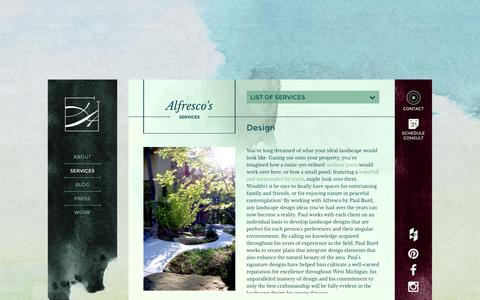 Screenshot of Services Page alfresco-landscapes.com - Landscape Design | Home Landscaping Design Services - captured Dec. 24, 2015