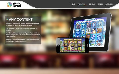 Screenshot of Products Page playtechretail.com - Any Content - Playtech Retail - captured Oct. 29, 2014