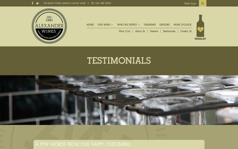 Screenshot of Testimonials Page alexander-wines.co.uk - Testimonials - Alexander Wines - captured May 29, 2017