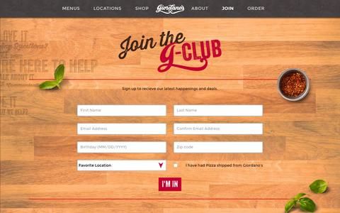 Screenshot of Signup Page giordanos.com - Join the G-Club | Giordano's Coupons and Updates - captured Jan. 28, 2016