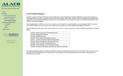 Screenshot of Support Page alaco.us - Local Project Support - Alaco Engineering - captured Oct. 4, 2014