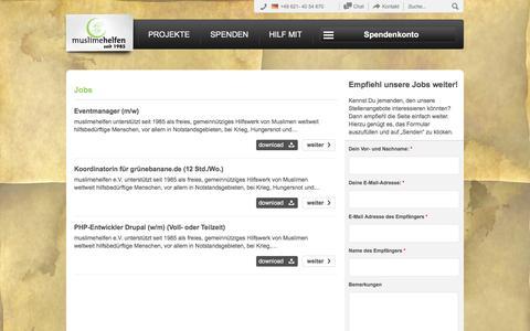 Screenshot of Jobs Page muslimehelfen.org - mh Jobs   muslimehelfen e.V. - captured Nov. 13, 2016