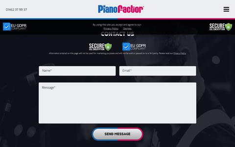 Screenshot of Contact Page pianofactor.co.uk - Contact PianoFactor | Contact Details - captured Sept. 28, 2018